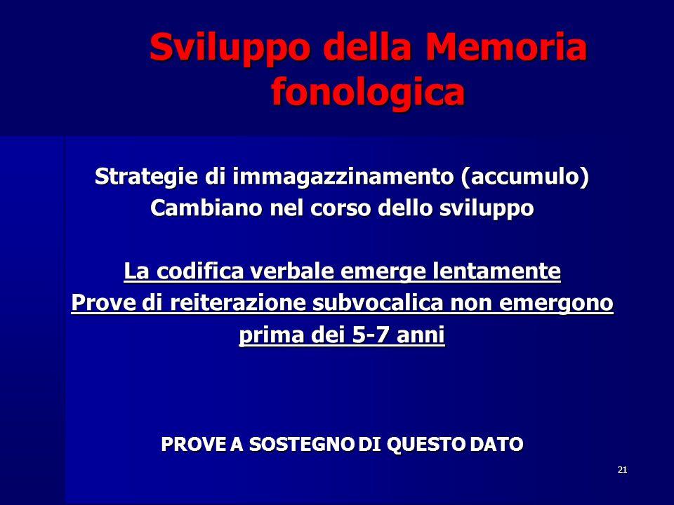 21 Sviluppo della Memoria fonologica Strategie di immagazzinamento (accumulo) Cambiano nel corso dello sviluppo La codifica verbale emerge lentamente