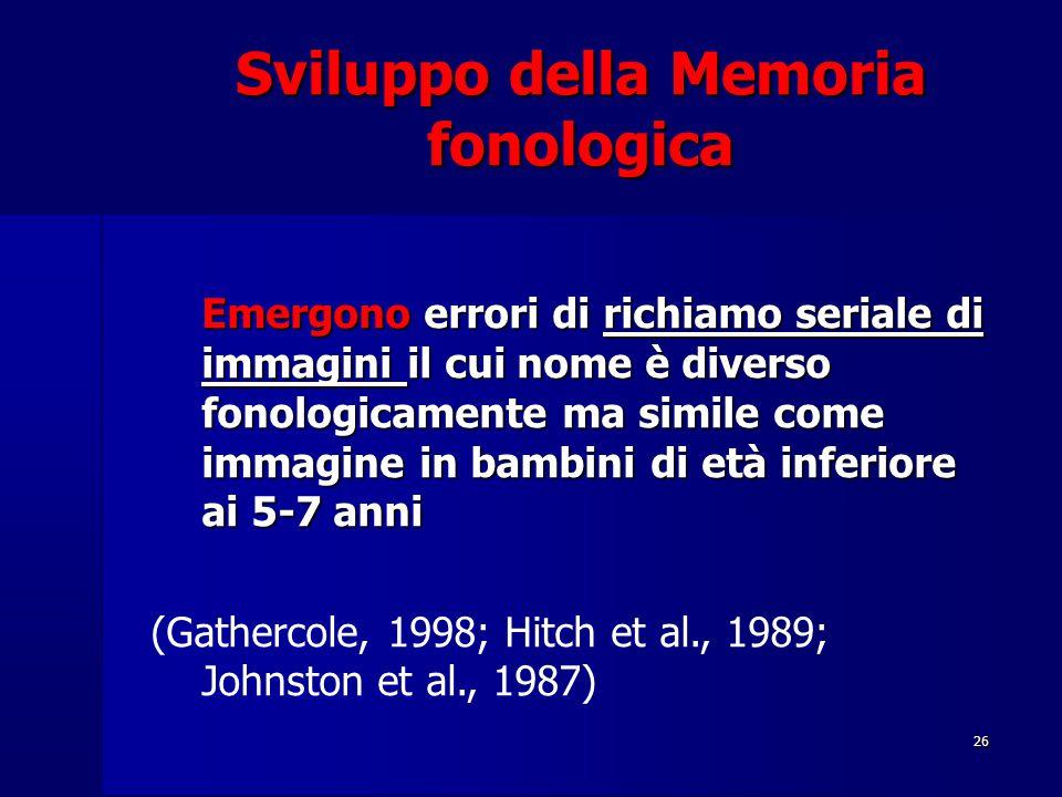 26 Emergono errori di richiamo seriale di immagini il cui nome è diverso fonologicamente ma simile come immagine in bambini di età inferiore ai 5-7 anni (Gathercole, 1998; Hitch et al., 1989; Johnston et al., 1987)