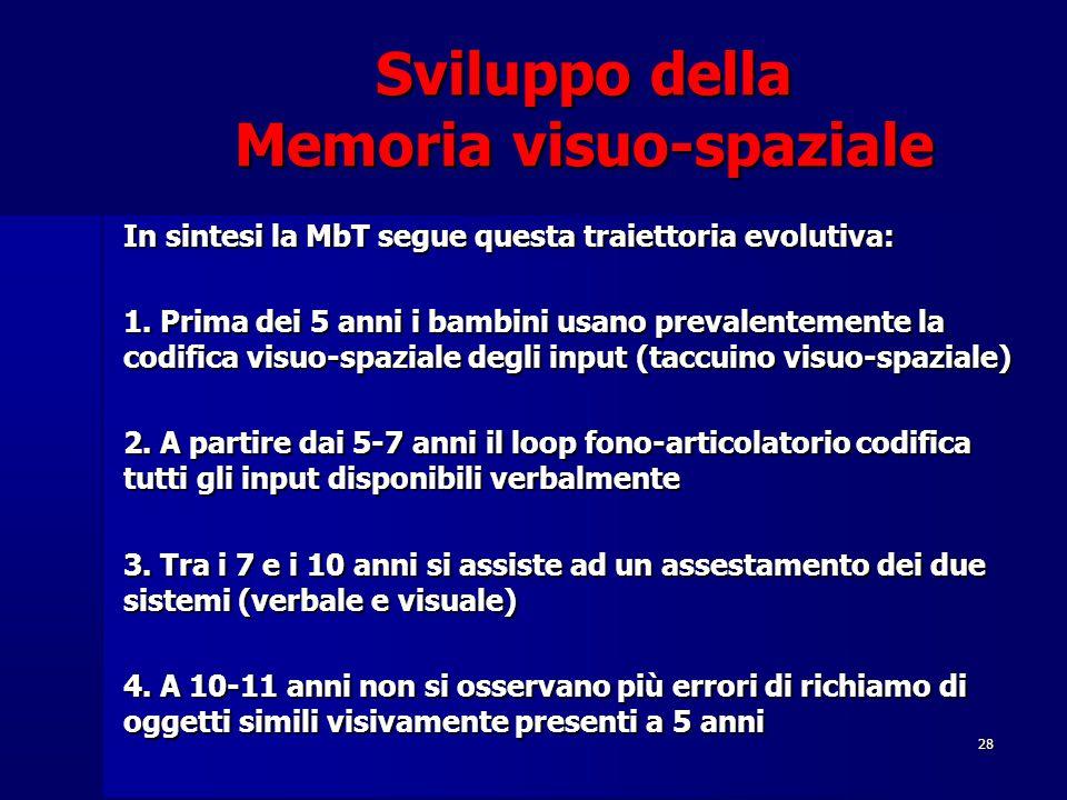 28 Sviluppo della Memoria visuo-spaziale In sintesi la MbT segue questa traiettoria evolutiva: 1. Prima dei 5 anni i bambini usano prevalentemente la
