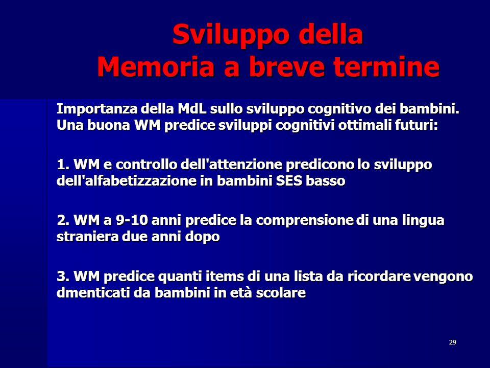 29 Sviluppo della Memoria a breve termine Importanza della MdL sullo sviluppo cognitivo dei bambini. Una buona WM predice sviluppi cognitivi ottimali