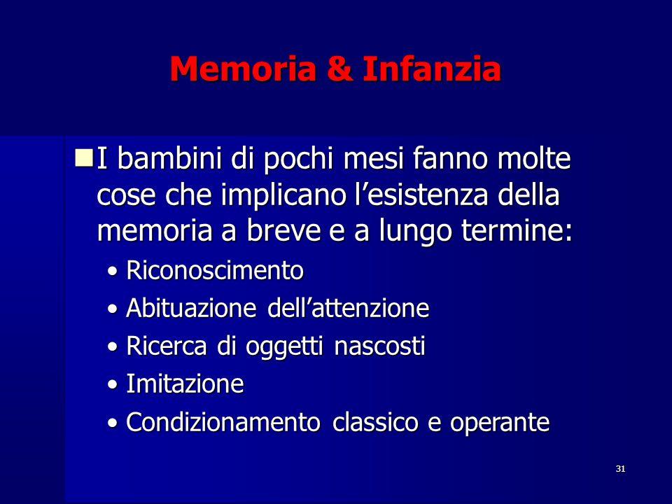 31 Memoria & Infanzia I bambini di pochi mesi fanno molte cose che implicano l'esistenza della memoria a breve e a lungo termine: I bambini di pochi m