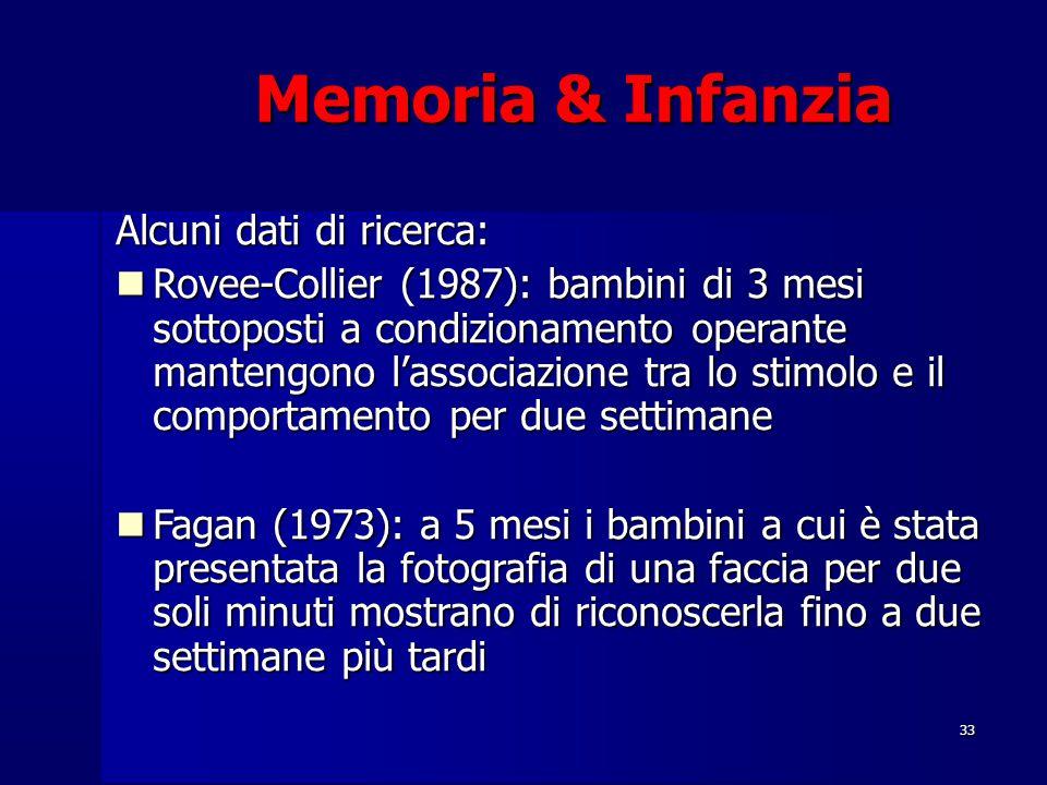 33 Memoria & Infanzia Alcuni dati di ricerca: Rovee-Collier (1987): bambini di 3 mesi sottoposti a condizionamento operante mantengono l'associazione tra lo stimolo e il comportamento per due settimane Rovee-Collier (1987): bambini di 3 mesi sottoposti a condizionamento operante mantengono l'associazione tra lo stimolo e il comportamento per due settimane Fagan (1973): a 5 mesi i bambini a cui è stata presentata la fotografia di una faccia per due soli minuti mostrano di riconoscerla fino a due settimane più tardi Fagan (1973): a 5 mesi i bambini a cui è stata presentata la fotografia di una faccia per due soli minuti mostrano di riconoscerla fino a due settimane più tardi