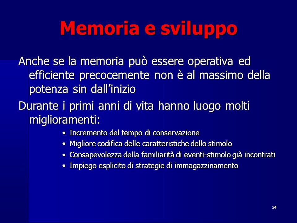 34 Memoria e sviluppo Anche se la memoria può essere operativa ed efficiente precocemente non è al massimo della potenza sin dall'inizio Durante i primi anni di vita hanno luogo molti miglioramenti: Incremento del tempo di conservazioneIncremento del tempo di conservazione Migliore codifica delle caratteristiche dello stimoloMigliore codifica delle caratteristiche dello stimolo Consapevolezza della familiarità di eventi-stimolo già incontratiConsapevolezza della familiarità di eventi-stimolo già incontrati Impiego esplicito di strategie di immagazzinamentoImpiego esplicito di strategie di immagazzinamento