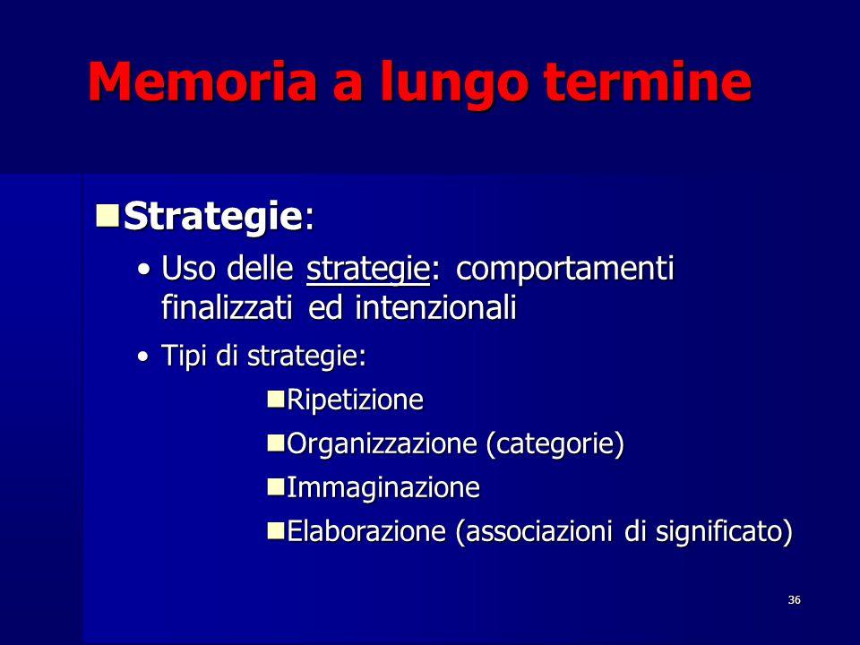36 Memoria a lungo termine Strategie: Strategie: Uso delle strategie: comportamenti finalizzati ed intenzionaliUso delle strategie: comportamenti finalizzati ed intenzionali Tipi di strategie:Tipi di strategie: Ripetizione Ripetizione Organizzazione (categorie) Organizzazione (categorie) Immaginazione Immaginazione Elaborazione (associazioni di significato)  Elaborazione (associazioni di significato) 