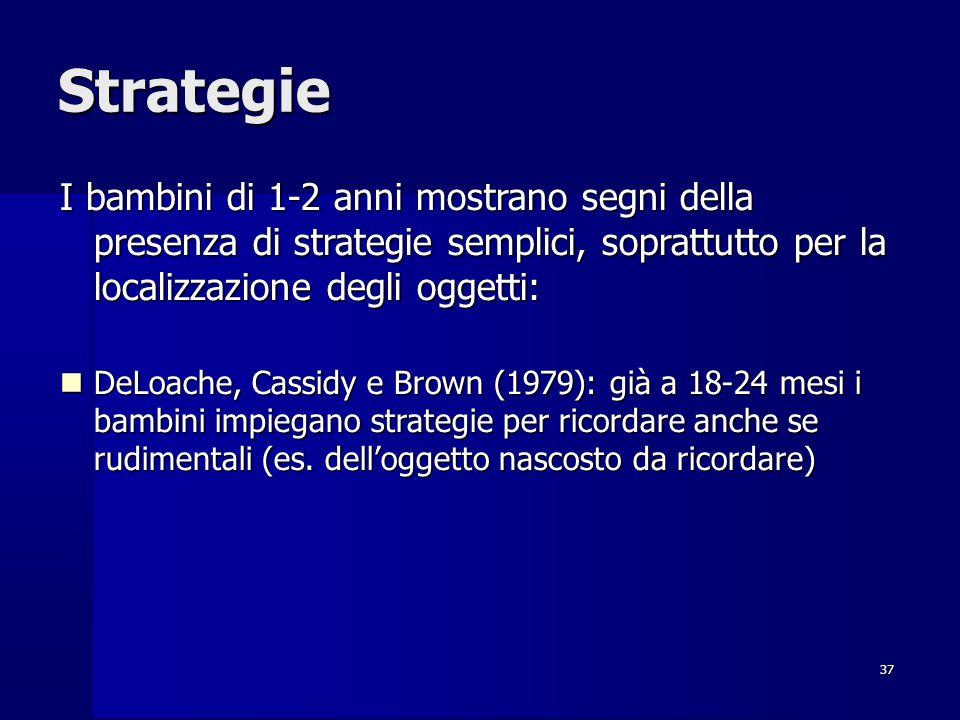 37 Strategie I bambini di 1-2 anni mostrano segni della presenza di strategie semplici, soprattutto per la localizzazione degli oggetti: DeLoache, Cassidy e Brown (1979): già a 18-24 mesi i bambini impiegano strategie per ricordare anche se rudimentali (es.
