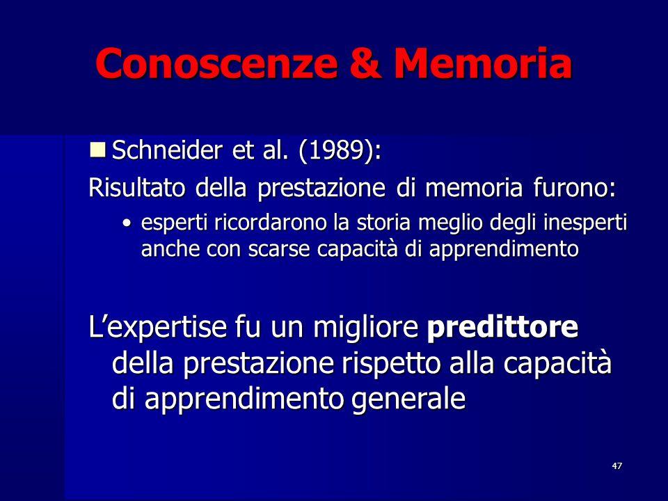 47 Conoscenze & Memoria Schneider et al. (1989): Schneider et al. (1989): Risultato della prestazione di memoria furono: esperti ricordarono la storia