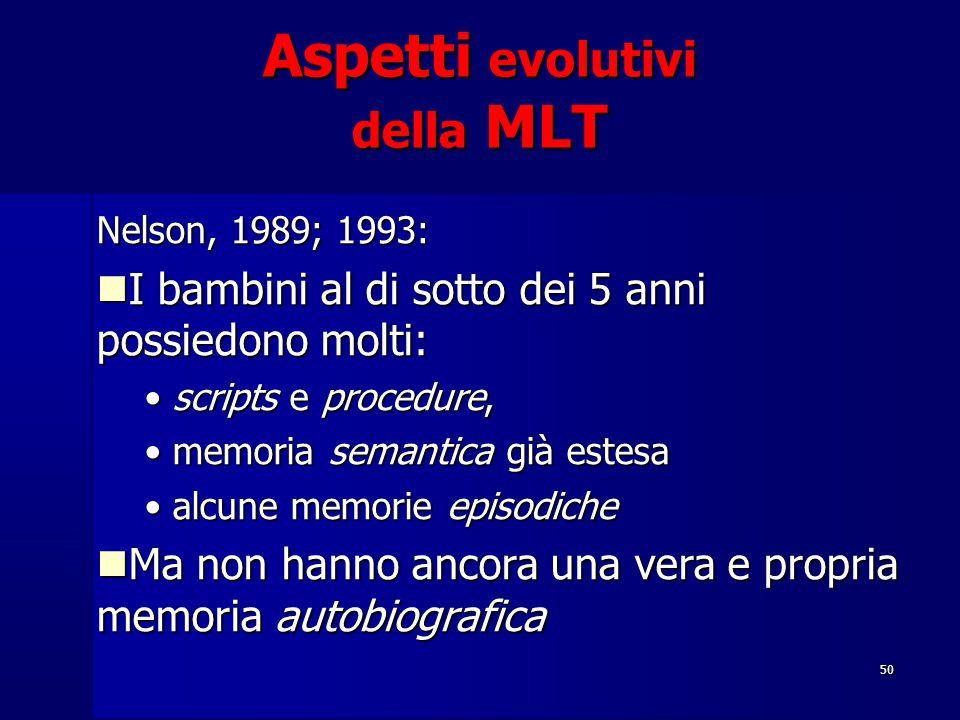 50 Aspetti evolutivi della MLT Nelson, 1989; 1993: I bambini al di sotto dei 5 anni possiedono molti: I bambini al di sotto dei 5 anni possiedono molt