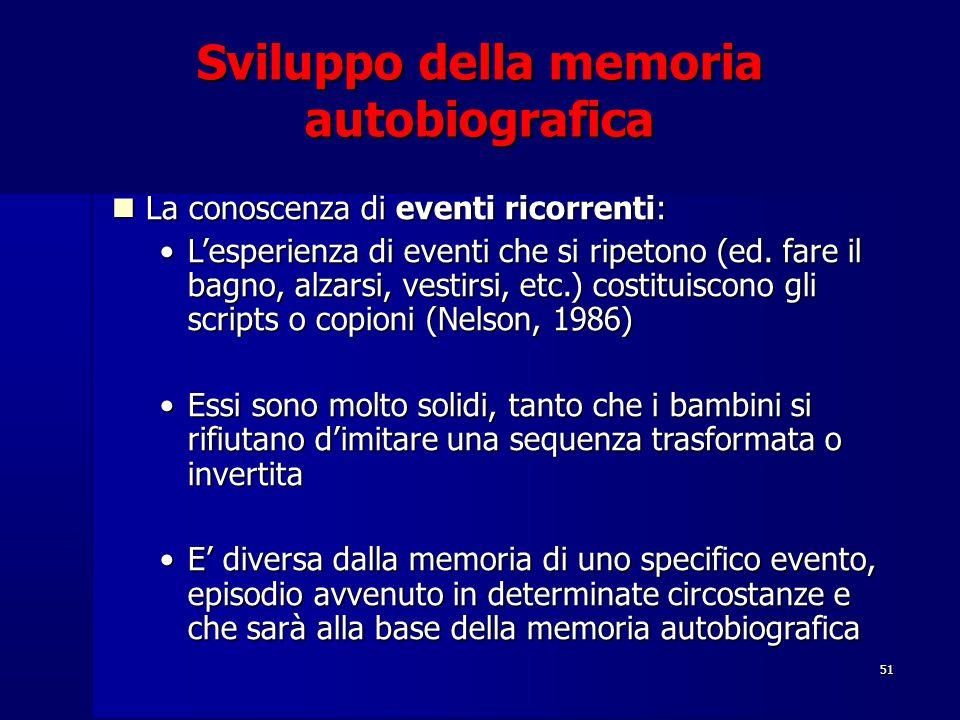 51 Sviluppo della memoria autobiografica La conoscenza di eventi ricorrenti: La conoscenza di eventi ricorrenti: L'esperienza di eventi che si ripeton
