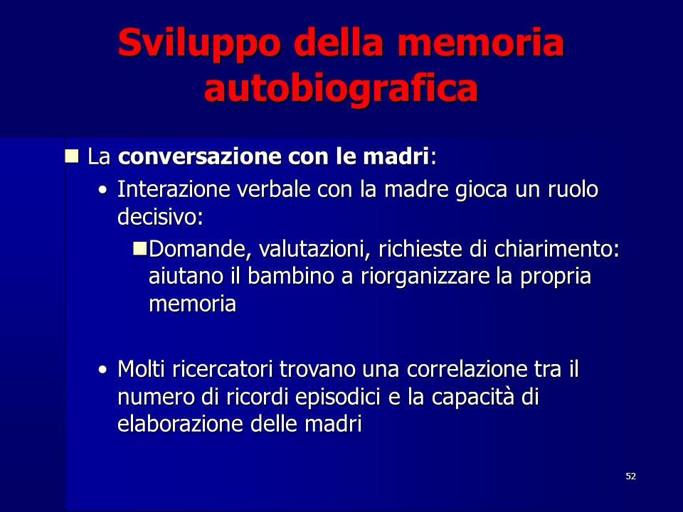 52 Sviluppo della memoria autobiografica La conversazione con le madri: La conversazione con le madri: Interazione verbale con la madre gioca un ruolo
