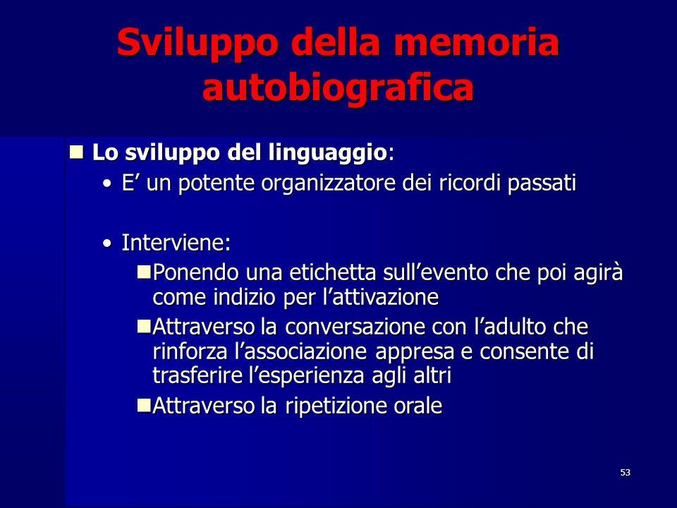 53 Sviluppo della memoria autobiografica Lo sviluppo del linguaggio: Lo sviluppo del linguaggio: E' un potente organizzatore dei ricordi passatiE' un