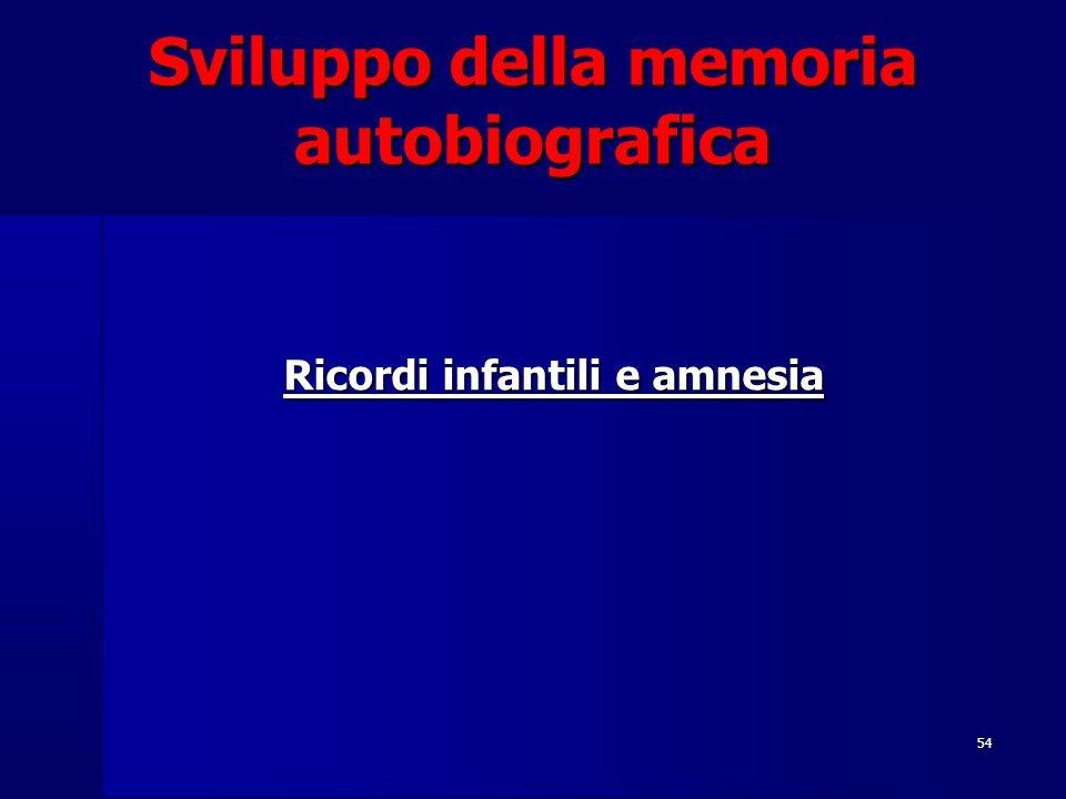54 Sviluppo della memoria autobiografica Ricordi infantili e amnesia