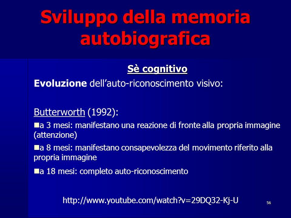 56 Sviluppo della memoria autobiografica Sè cognitivo Evoluzione dell'auto-riconoscimento visivo: Butterworth (1992): a 3 mesi: manifestano una reazione di fronte alla propria immagine (attenzione) a 8 mesi: manifestano consapevolezza del movimento riferito alla propria immagine a 18 mesi: completo auto-riconoscimento http://www.youtube.com/watch?v=29DQ32-Kj-U