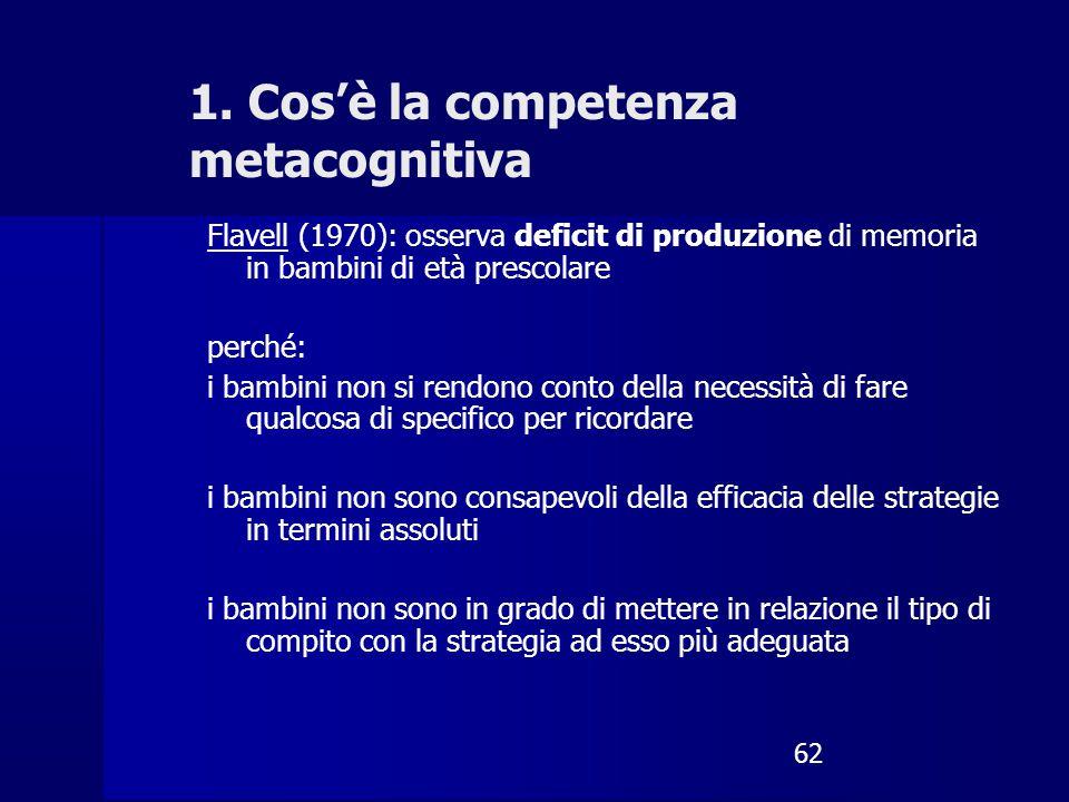 62 1. Cos'è la competenza metacognitiva Flavell (1970): osserva deficit di produzione di memoria in bambini di età prescolare perché: i bambini non si