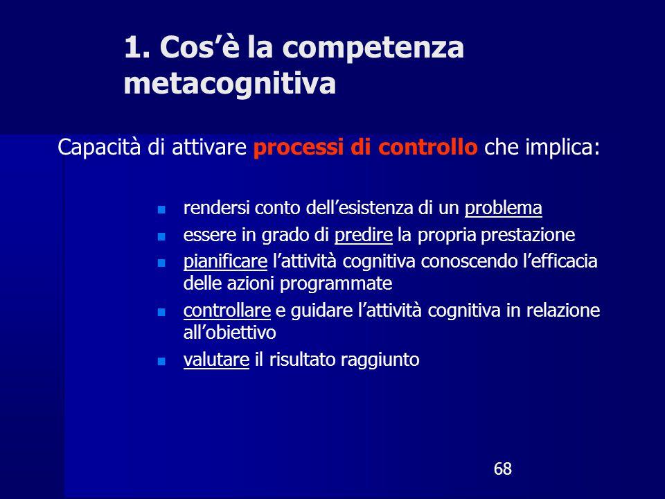 68 Capacità di attivare processi di controllo che implica: rendersi conto dell'esistenza di un problema essere in grado di predire la propria prestazi