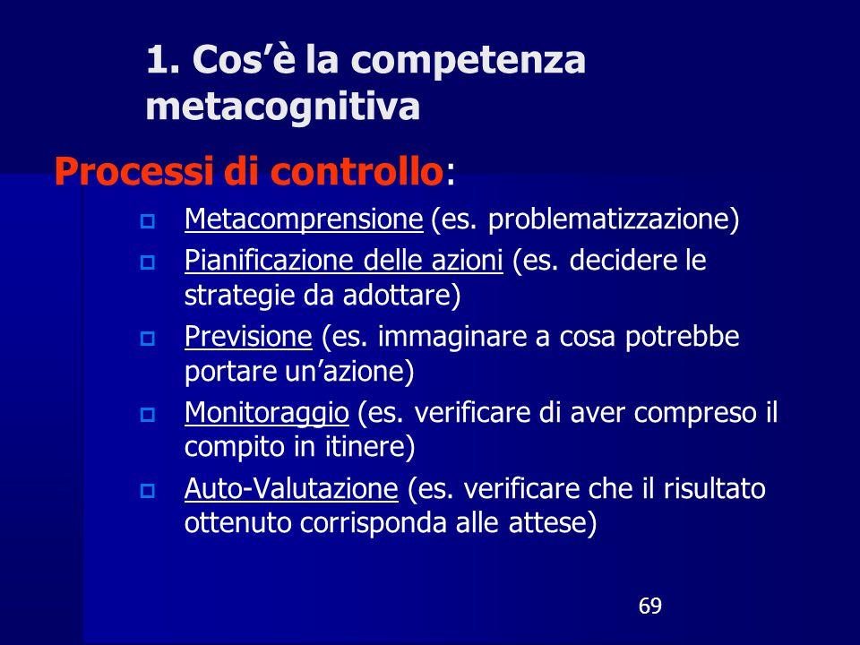 69 Processi di controllo:  Metacomprensione (es. problematizzazione)  Pianificazione delle azioni (es. decidere le strategie da adottare)  Previsio
