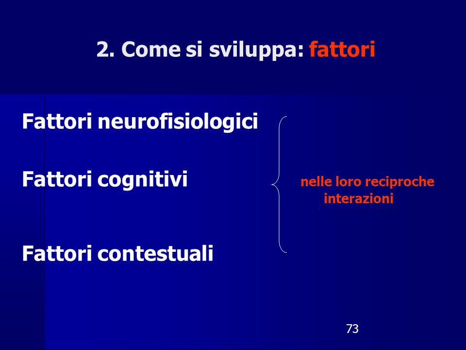 73 Fattori neurofisiologici Fattori cognitivi nelle loro reciproche interazioni Fattori contestuali 2. Come si sviluppa: fattori
