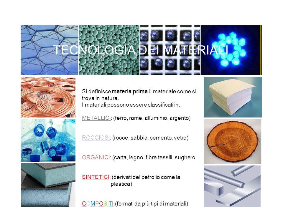 Ogni materiale presenta differenti proprietà e caratteristiche.