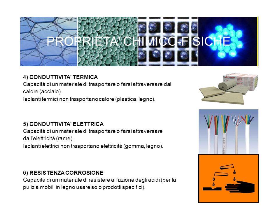 4) CONDUTTIVITA' TERMICA Capacità di un materiale di trasportare o farsi attraversare dal calore (acciaio). Isolanti termici non trasportano calore (p