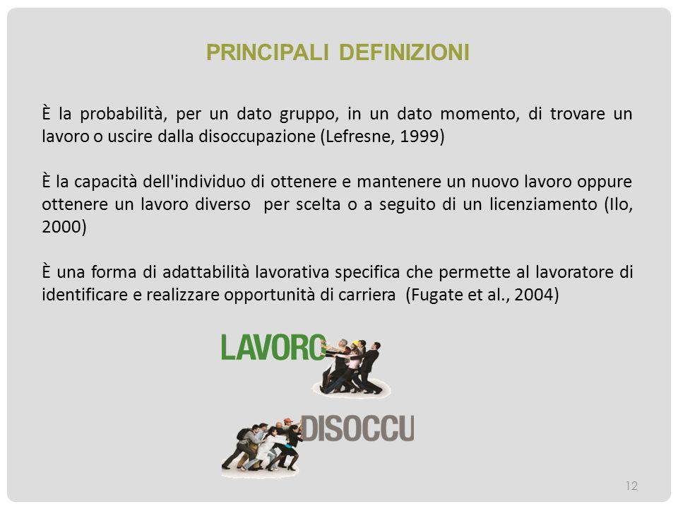 PRINCIPALI DEFINIZIONI 12 È la probabilità, per un dato gruppo, in un dato momento, di trovare un lavoro o uscire dalla disoccupazione (Lefresne, 1999