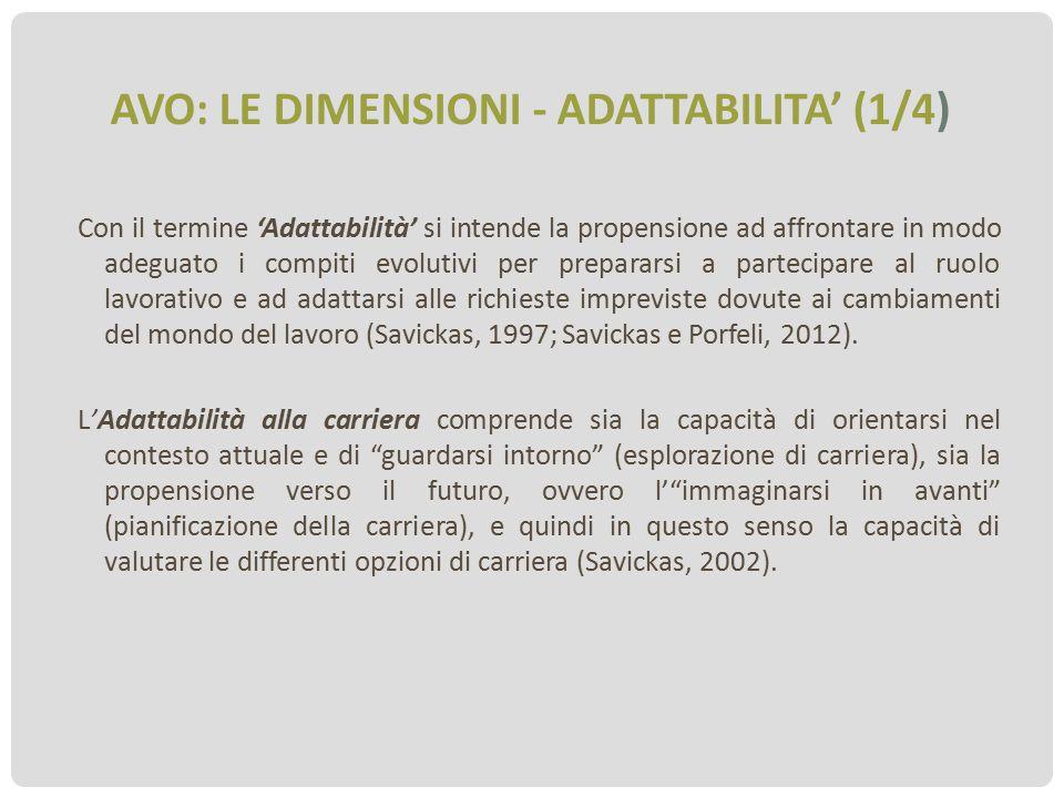 AVO: LE DIMENSIONI - ADATTABILITA' (1/4) Con il termine 'Adattabilità' si intende la propensione ad affrontare in modo adeguato i compiti evolutivi pe