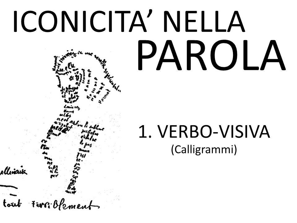 ICONICITA' NELLA PAROLA 1. VERBO-VISIVA (Calligrammi)