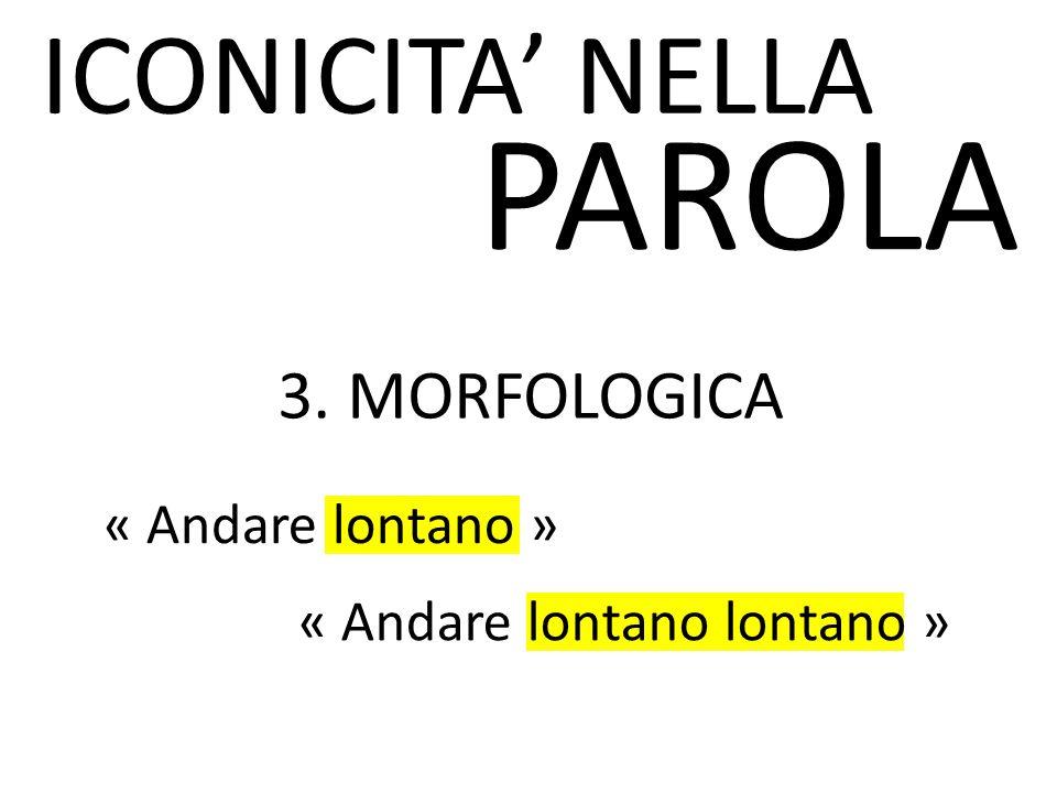 ICONICITA' NELLA PAROLA 3. MORFOLOGICA « Andare lontano » « Andare lontano lontano »