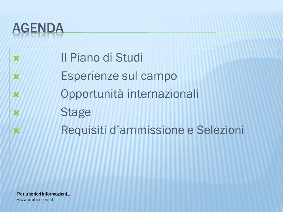  Il Piano di Studi  Esperienze sul campo  Opportunità internazionali  Stage  Requisiti d'ammissione e Selezioni Per ulteriori informazioni… www.unibocconi.it