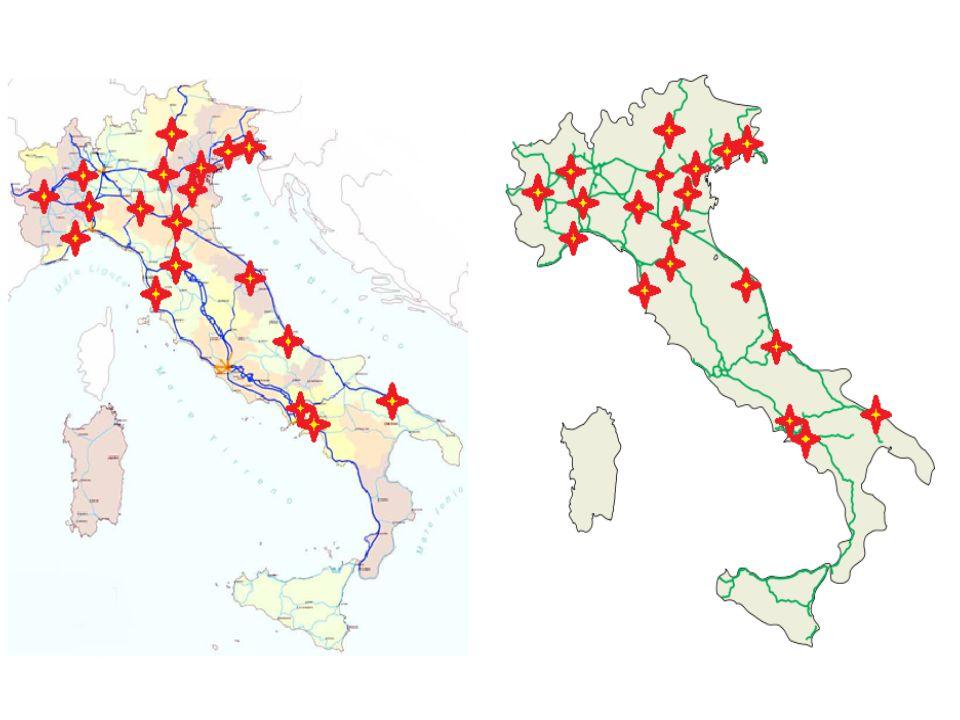 Struttura e capacità produttiva degli interporti italiani Aree destinate all attività interportuale 37.463.838 mq Aree disponibili per l attività interportuale 32.133.065 mq Aree infrastrutturate per l attività interportuale 21.874.890 mq Aree terminalistiche 2.796.000 mq Aree logistiche 1 5.975.313 mq Traffico Ferroviario UTI movimentate 971.852 TEU equivalenti 2 1.739.625 Carri convenzionali 105.847 Coppie di treni intermodali alla settimana 551 Coppie di treni intermodali all'anno 3 27.550 Il sistema interportuale italiano nel 2011 Fonte: UIR 2012