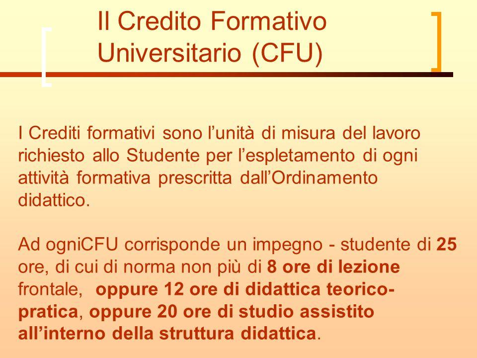 Il Credito Formativo Universitario (CFU) I Crediti formativi sono l'unità di misura del lavoro richiesto allo Studente per l'espletamento di ogni attività formativa prescritta dall'Ordinamento didattico.