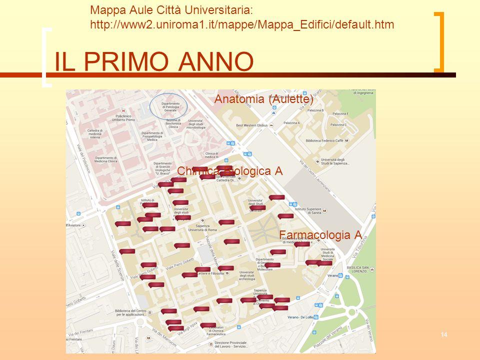 IL PRIMO ANNO 14 Mappa Aule Città Universitaria: http://www2.uniroma1.it/mappe/Mappa_Edifici/default.htm Anatomia (Aulette) Farmacologia A Chimica Bio