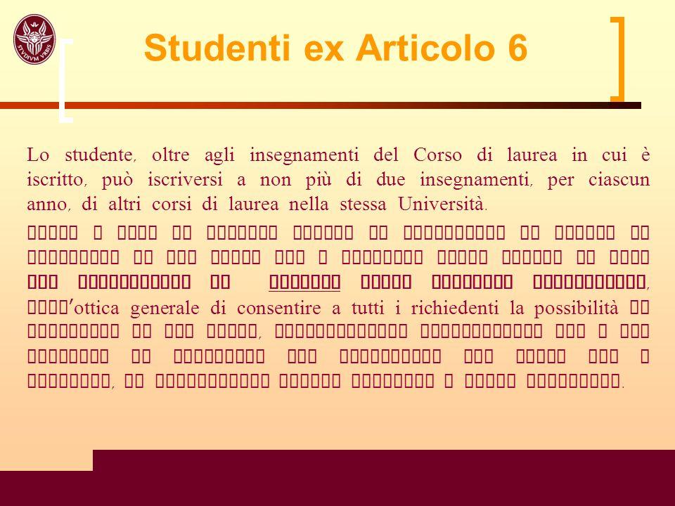 23 Studenti ex Articolo 6 Lo studente, oltre agli insegnamenti del Corso di laurea in cui è iscritto, può iscriversi a non più di due insegnamenti, pe