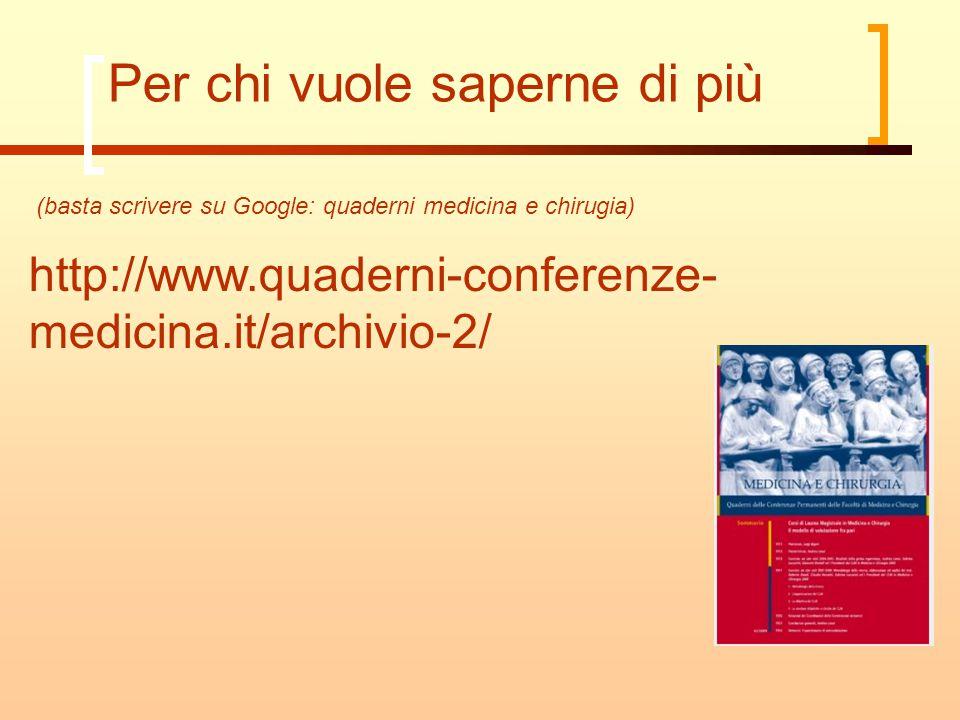 Per chi vuole saperne di più http://www.quaderni-conferenze- medicina.it/archivio-2/ (basta scrivere su Google: quaderni medicina e chirugia)