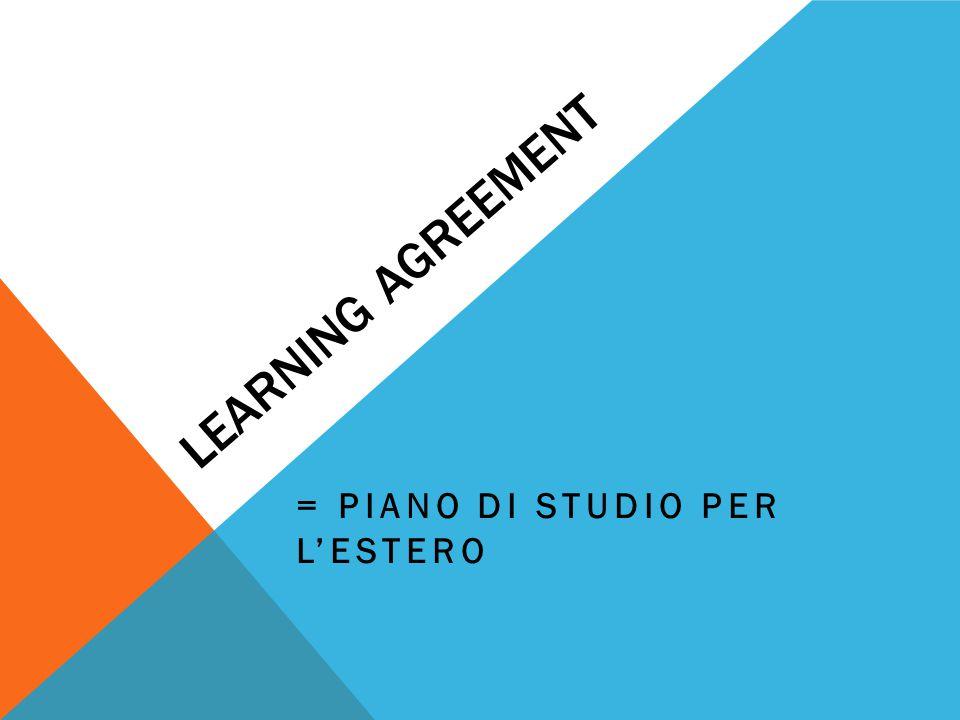 LEARNING AGREEMENT = PIANO DI STUDIO PER L'ESTERO