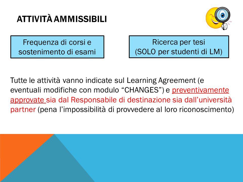 """ATTIVITÀ AMMISSIBILI Tutte le attività vanno indicate sul Learning Agreement (e eventuali modifiche con modulo """"CHANGES"""") e preventivamente approvate"""