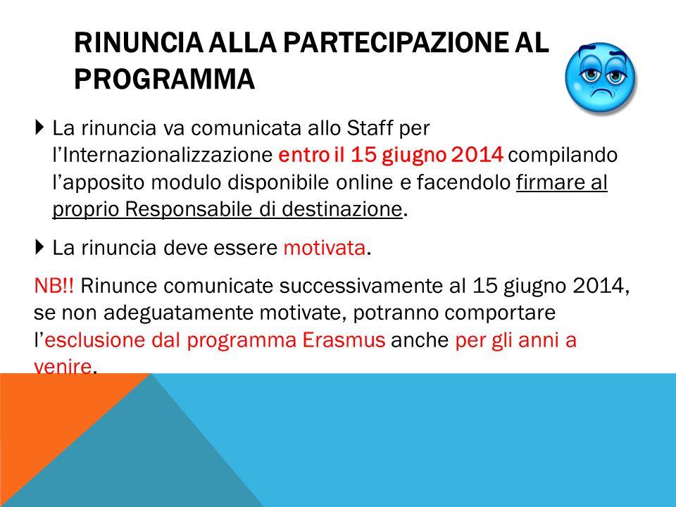 RINUNCIA ALLA PARTECIPAZIONE AL PROGRAMMA  La rinuncia va comunicata allo Staff per l'Internazionalizzazione entro il 15 giugno 2014 compilando l'app