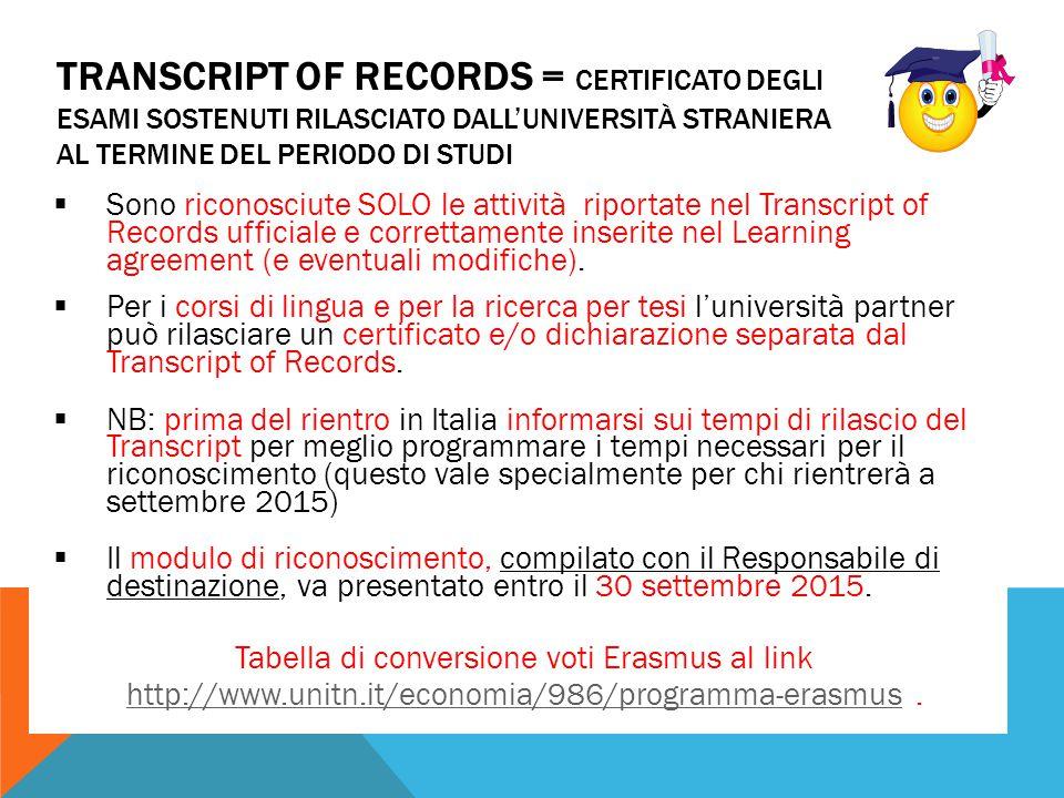 TRANSCRIPT OF RECORDS = CERTIFICATO DEGLI ESAMI SOSTENUTI RILASCIATO DALL'UNIVERSITÀ STRANIERA AL TERMINE DEL PERIODO DI STUDI  Sono riconosciute SOL