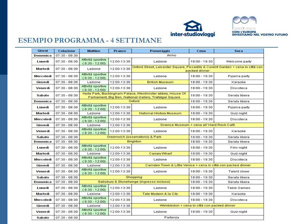 ESEMPIO PROGRAMMA - 4 SETTIMANE