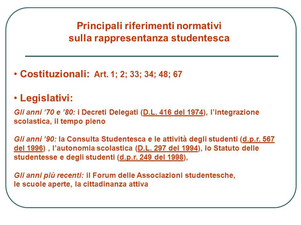 Principali riferimenti normativi sulla rappresentanza studentesca Costituzionali: Art. 1; 2; 33; 34; 48; 67 Legislativi: Gli anni '70 e '80: i Decreti