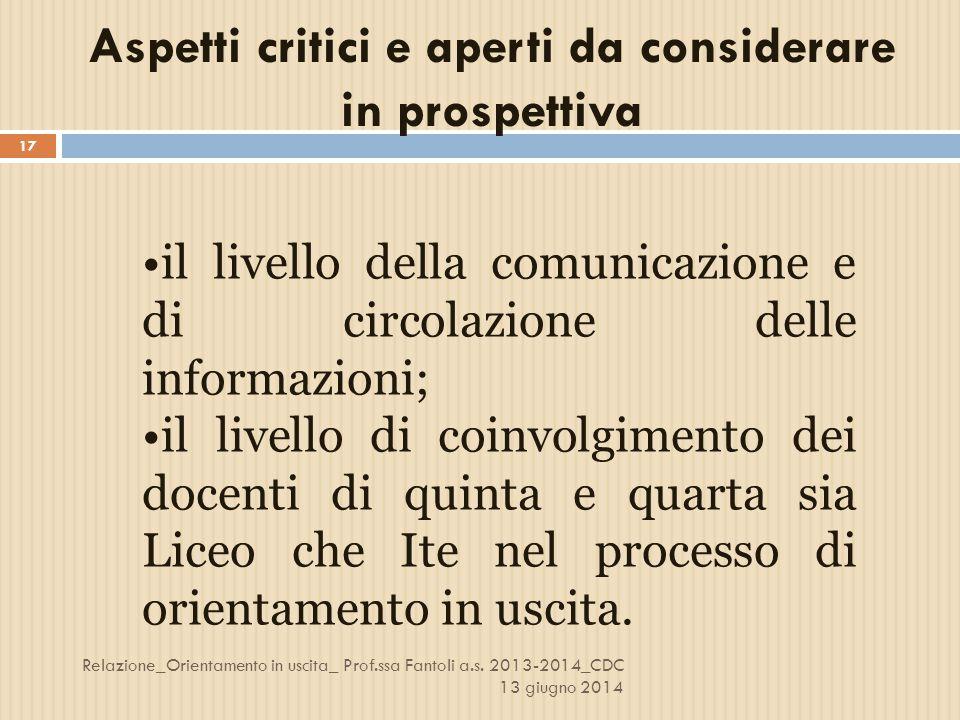 Aspetti critici e aperti da considerare in prospettiva il livello della comunicazione e di circolazione delle informazioni; il livello di coinvolgimen