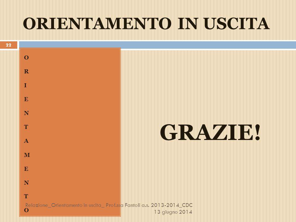 ORIENTAMENTO IN USCITA ORIENTAMENTOORIENTAMENTO GRAZIE! 22 Relazione_Orientamento in uscita_ Prof.ssa Fantoli a.s. 2013-2014_CDC 13 giugno 2014