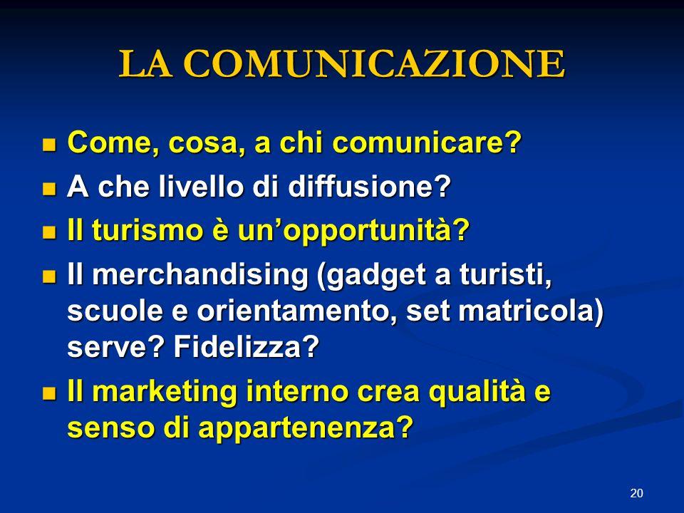 20 LA COMUNICAZIONE Come, cosa, a chi comunicare.Come, cosa, a chi comunicare.