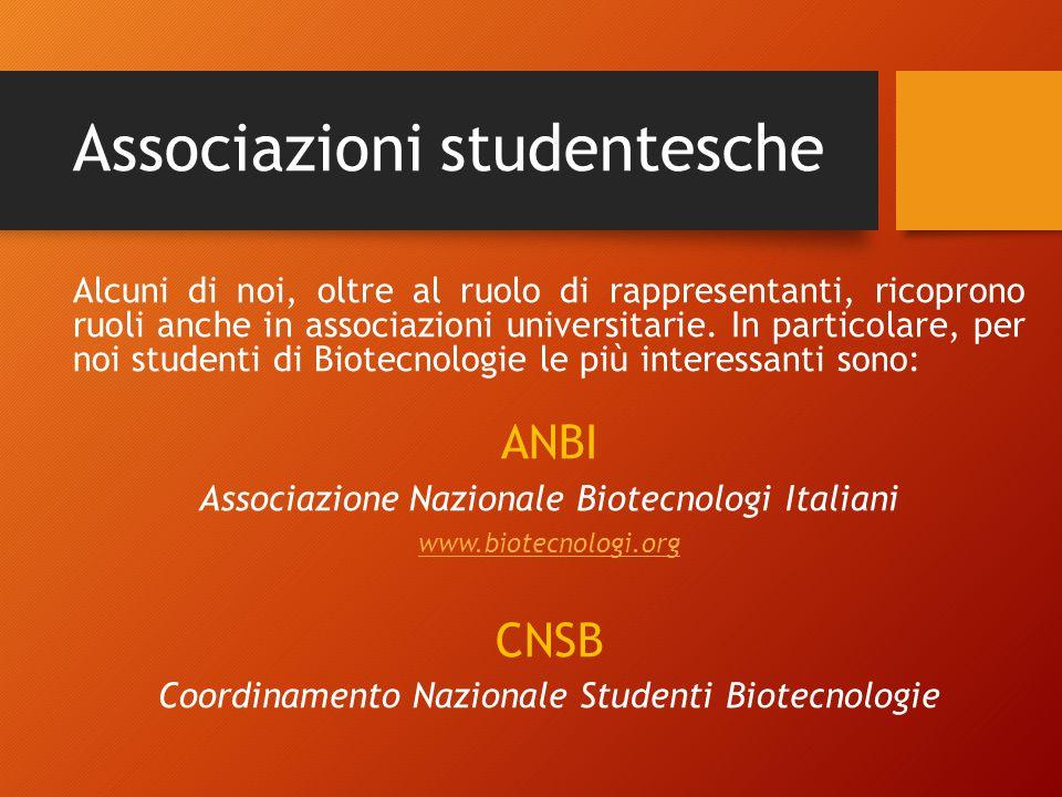 Associazioni studentesche Alcuni di noi, oltre al ruolo di rappresentanti, ricoprono ruoli anche in associazioni universitarie.