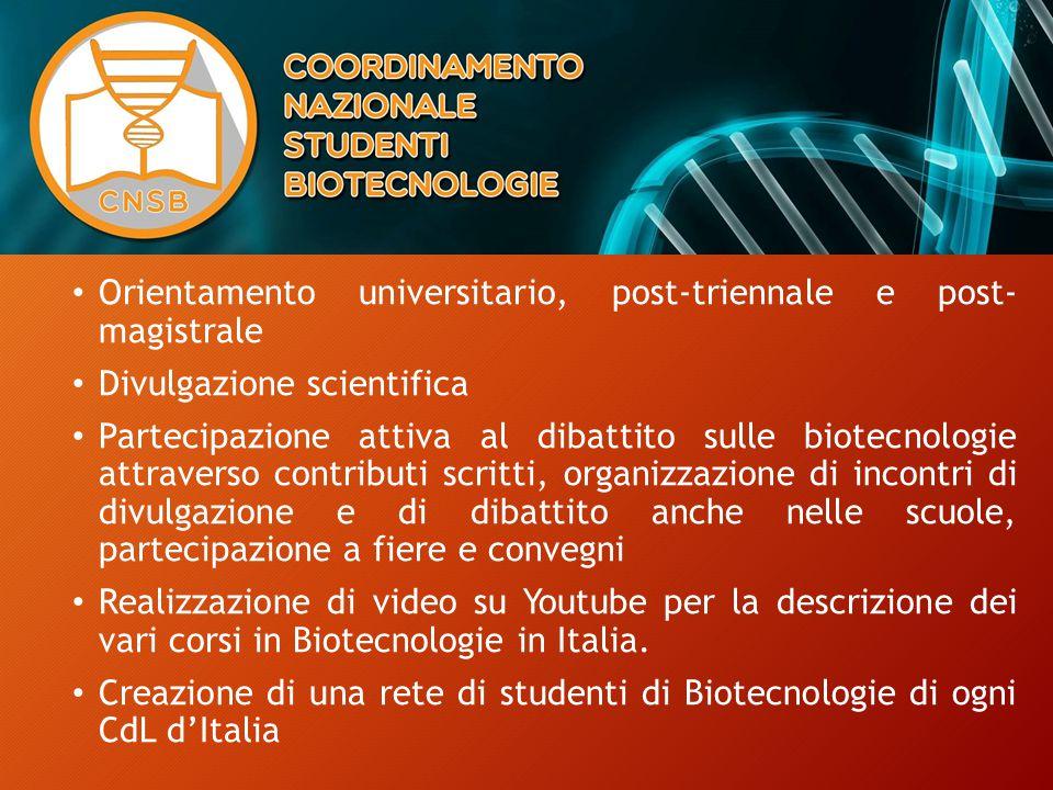 Orientamento universitario, post-triennale e post- magistrale Divulgazione scientifica Partecipazione attiva al dibattito sulle biotecnologie attraverso contributi scritti, organizzazione di incontri di divulgazione e di dibattito anche nelle scuole, partecipazione a fiere e convegni Realizzazione di video su Youtube per la descrizione dei vari corsi in Biotecnologie in Italia.