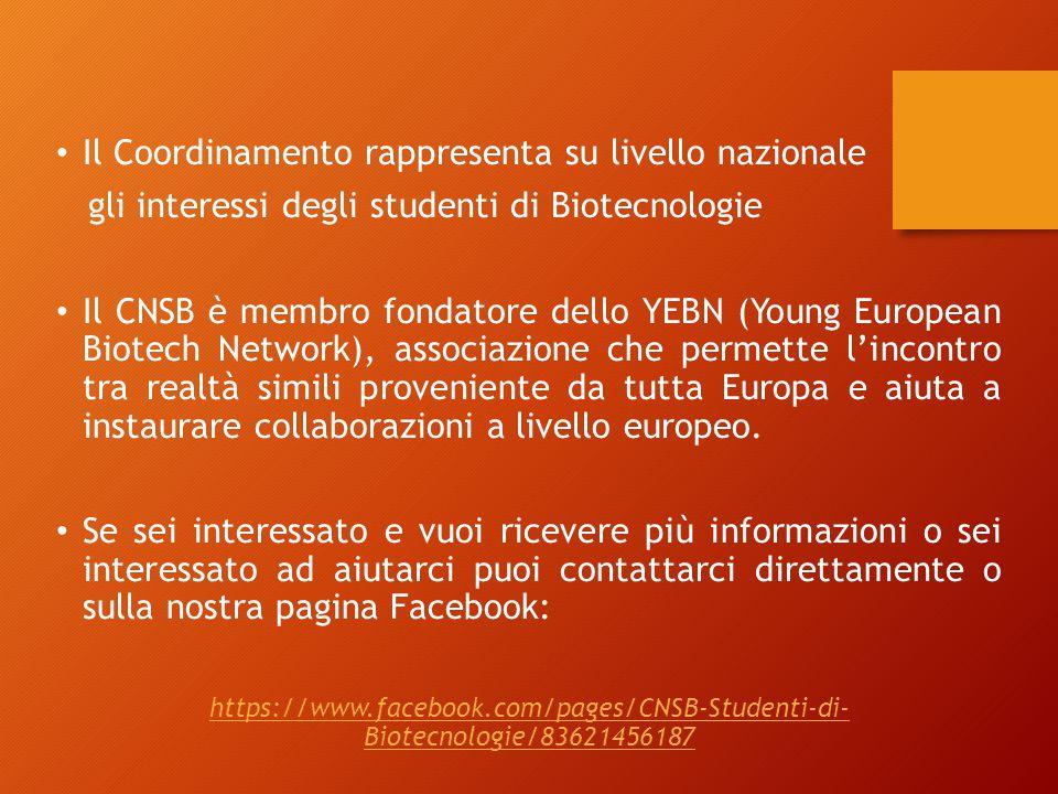 Il Coordinamento rappresenta su livello nazionale gli interessi degli studenti di Biotecnologie Il CNSB è membro fondatore dello YEBN (Young European Biotech Network), associazione che permette l'incontro tra realtà simili proveniente da tutta Europa e aiuta a instaurare collaborazioni a livello europeo.