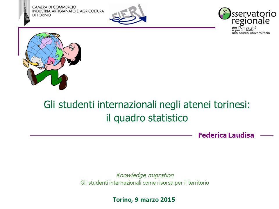 Federica Laudisa Torino, 9 marzo 2015 Gli studenti internazionali negli atenei torinesi: il quadro statistico Knowledge migration Gli studenti interna