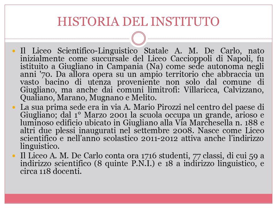 HISTORIA DEL INSTITUTO Il Liceo Scientifico-Linguistico Statale A. M. De Carlo, nato inizialmente come succursale del Liceo Caccioppoli di Napoli, fu