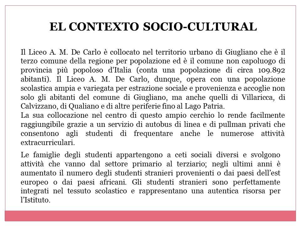 EL CONTEXTO SOCIO-CULTURAL Il Liceo A. M. De Carlo è collocato nel territorio urbano di Giugliano che è il terzo comune della regione per popolazione
