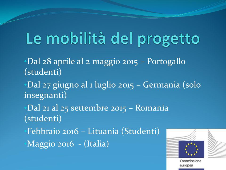 Dal 28 aprile al 2 maggio 2015 – Portogallo (studenti) Dal 27 giugno al 1 luglio 2015 – Germania (solo insegnanti) Dal 21 al 25 settembre 2015 – Romania (studenti) Febbraio 2016 – Lituania (Studenti) Maggio 2016 - (Italia)