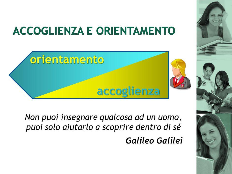 Non puoi insegnare qualcosa ad un uomo, puoi solo aiutarlo a scoprire dentro di sé accoglienza orientamento Galileo Galilei