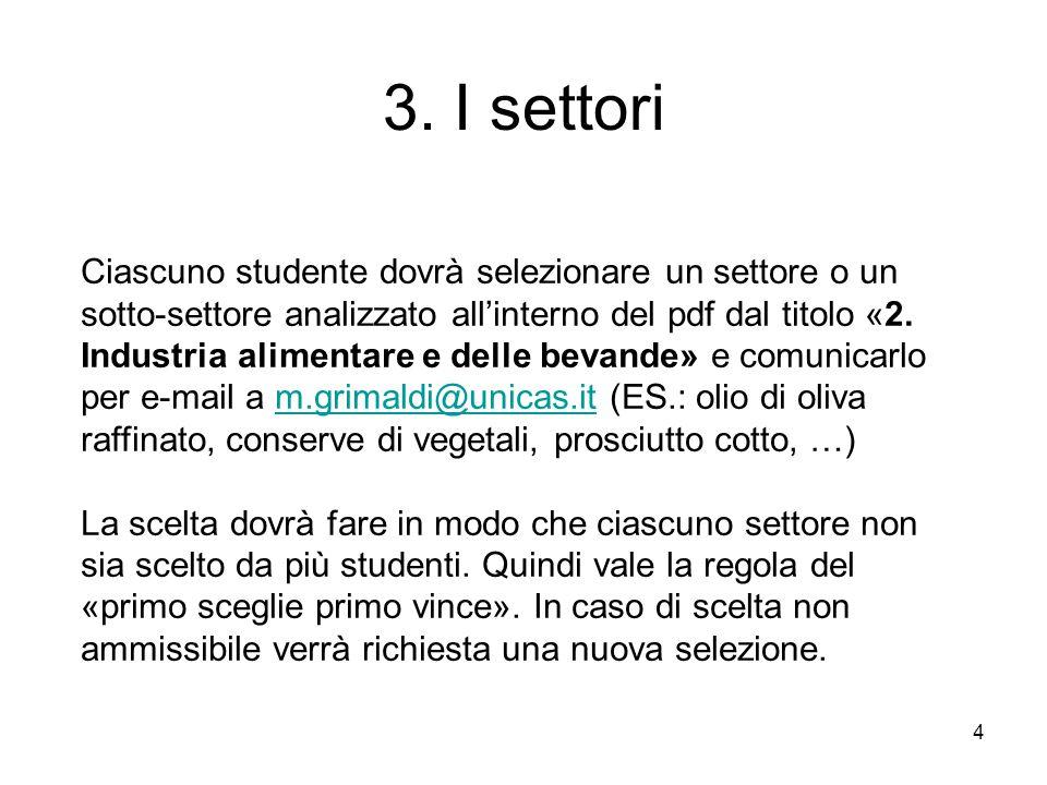 3. I settori 4 Ciascuno studente dovrà selezionare un settore o un sotto-settore analizzato all'interno del pdf dal titolo «2. Industria alimentare e